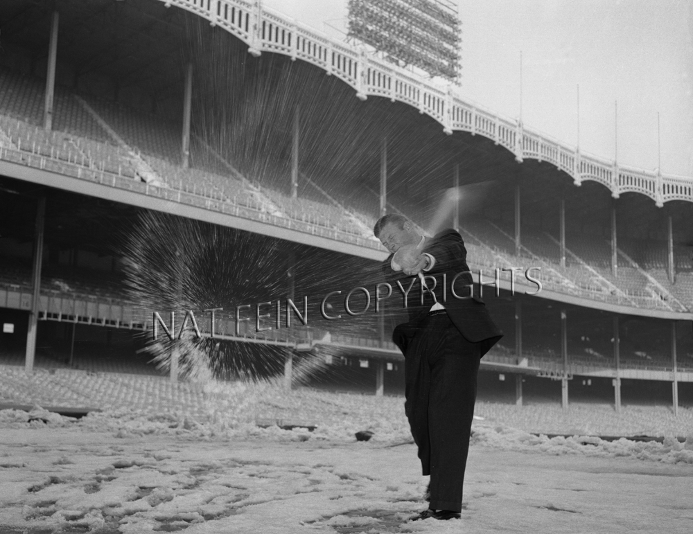1957 Mickey Mantle Smashes A Snowball At Yankee Stadium Celebrating His 65000 Contract Call Or Email For Availability And Pricing